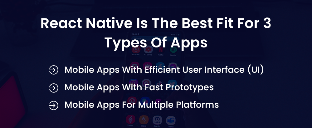 react native is the best fit for 3 types of apps